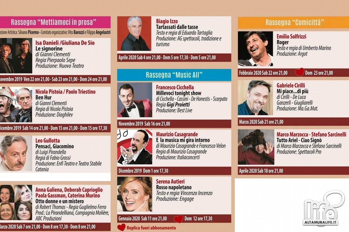 Stagione 2019-2020 del Teatro Mercadante