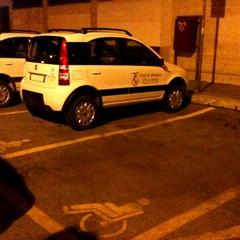 Auto in sosta nei parcheggi riservati ai diversamente abili