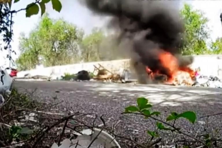 Incendio di rifiuti - Immagine Polizia Locale Altamura