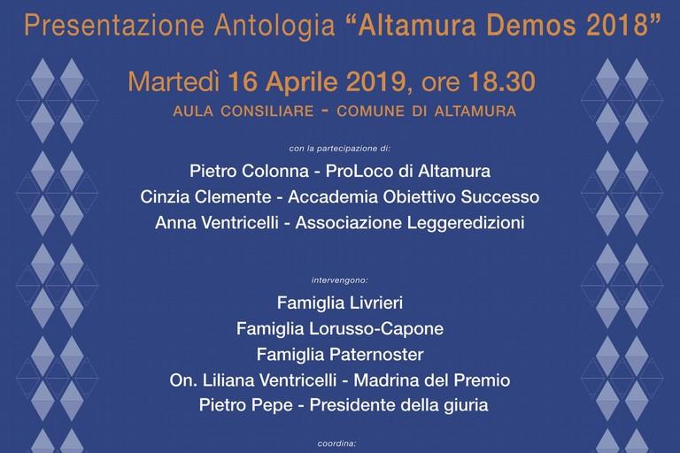 Presentazione antologia premio letterario Altamura Demos 2018