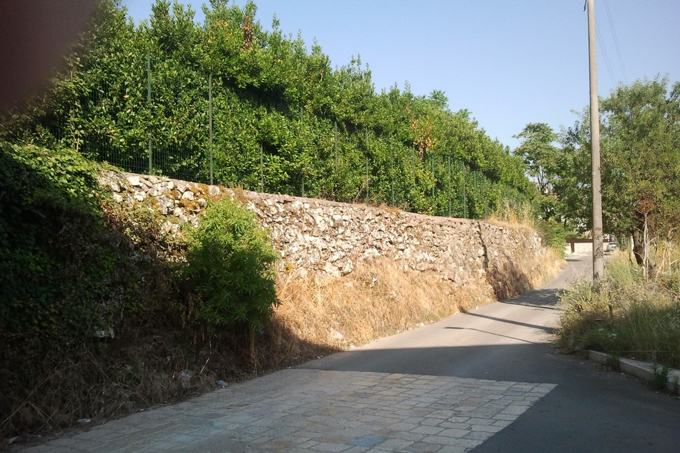 Muro pericolante in via La Carrera
