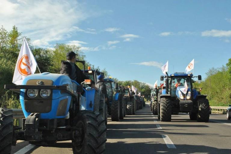 Protesta degli agricoltori con i trattori. <span>Foto Onofrio Bruno</span>